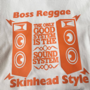BOSS REGGAE SKINHEAD STYLE T-SHIRT WHITE & ORANGE